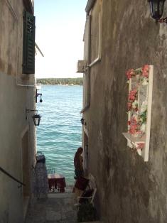Croatia Rovinj shop passage with view