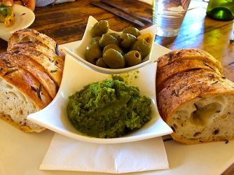 Immerse appetising Oct 2017 orange-soaked olives pesto sour dough bread