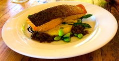 Immerse grilled salmon fillet vanilla bean potato puree asparagus caper cornichon butter sauce