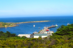 King Island Currie harbour view from lookout a