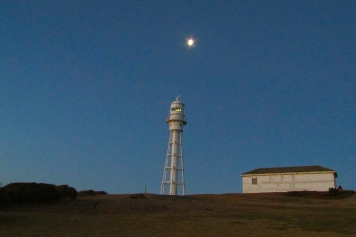 King island Currie lighthouse and moon