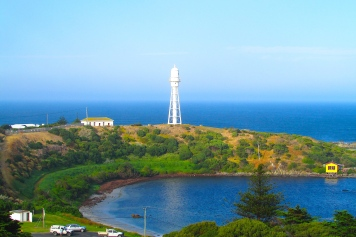 King Island Currie lighthouse from lookout