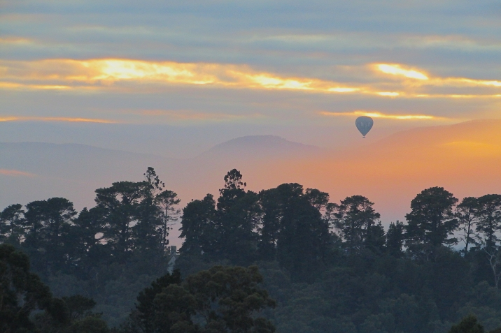Lilydale golden misty sunrise balloon June 2017
