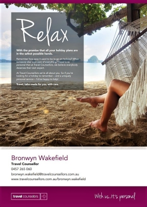 Bronwyn Travel ad Oct 2018 for my blog