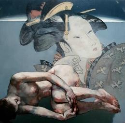 art at linden g caca geisha 102 x 102cm oil on canvas by hong fu
