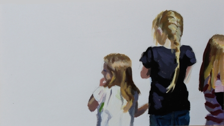 art at linden gate caca children#60 16x28.3cm (framed) acrylic on paper by zai kuang
